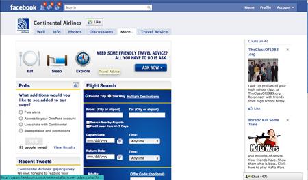 Continental FB screenshot blog Zemoga Lands Continental Airlines